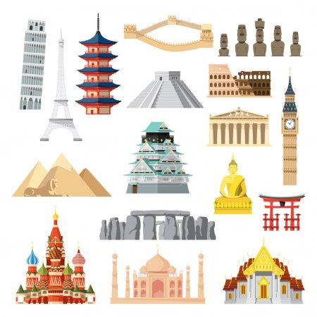 Landmarks set in flat design