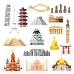 Landmarks set in flat design illustration vector...