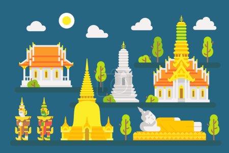 Jeu d'éléments Thailand temple infographique