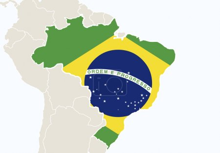 South America with highlighted Brazil map.