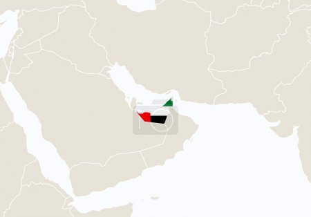 Asia with highlighted United Arab Emirates map.