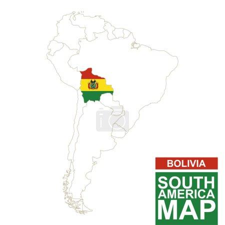 Illustration pour L'Amérique du Sud a fait le tour de la carte avec la Bolivie mise en évidence. Bolivie carte et drapeau sur la carte de l'Amérique du Sud. Illustration vectorielle . - image libre de droit