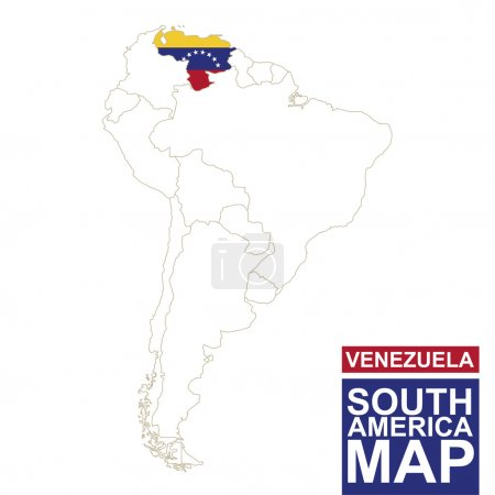 South America contoured map with highlighted Venezuela.