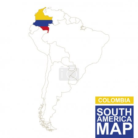 South America contoured map with highlighted Colombia.