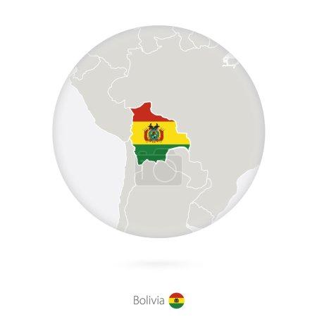 Illustration pour Carte de la Bolivie et drapeau national en cercle. Carte de la Bolivie avec drapeau. Illustration vectorielle . - image libre de droit