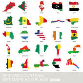 African countries set maps and flags