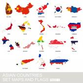 Asian countries set maps and flags Part 2