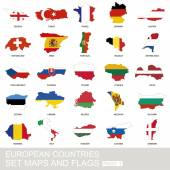 European countries set maps and flags