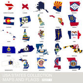 USA state collection maps and flags