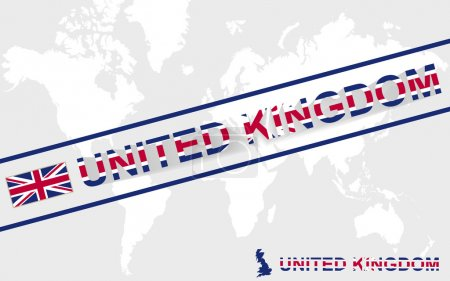 United Kingdom map flag and text illustration