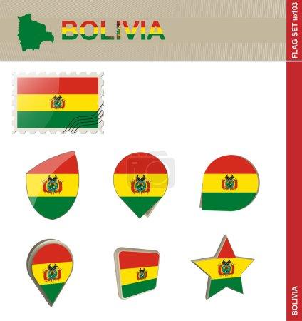 Illustration pour Ensemble de drapeaux Bolivie, Ensemble de drapeaux 103. Vecteur . - image libre de droit