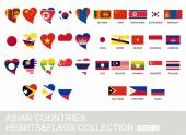 Asian countries set hearts and flags 2  version part 2