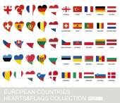 European countries set hearts and flags 2  version part 1