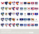 US states set hearts and flags part 1