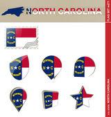 North Carolina Flag Set US state Flag Set 271 Vector
