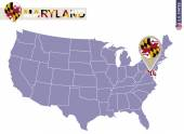 Maryland State on USA Map Maryland flag and map US States