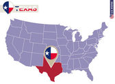 Texas State on USA Map Texas flag and map US States