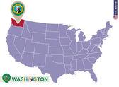 Washington State on USA Map Washington flag and map