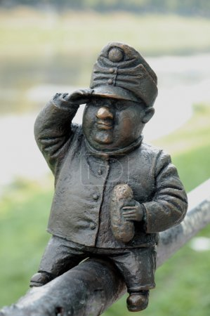 UZHGOROD, UKRAINE - august 05: Small bronze statue of Good Soldi