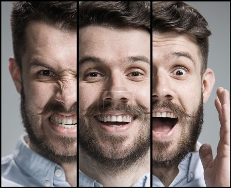 Set of young mans portraits with different emotions