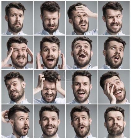 Photo pour Ensemble de portraits de jeunes hommes avec différentes émotions sur fond gris - image libre de droit