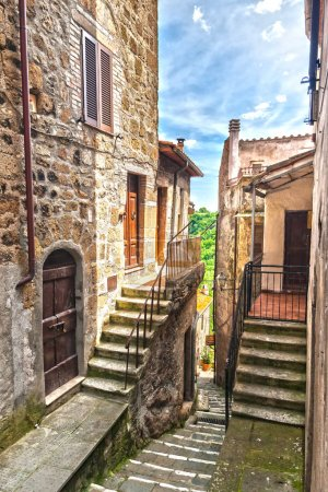 The narrow street of the old city in Italy