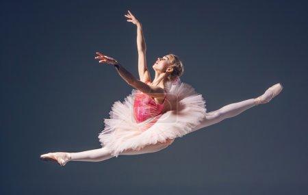 Photo pour LBelle danseuse de ballet sur fond gris. Ballerine porte des chaussures tutu et pointe roses - image libre de droit