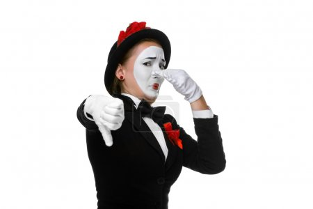 Portrait of the condemning woman as mime with diss...