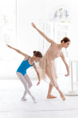 The little ballerina posing at ballet barre with personal teacher in dance studio