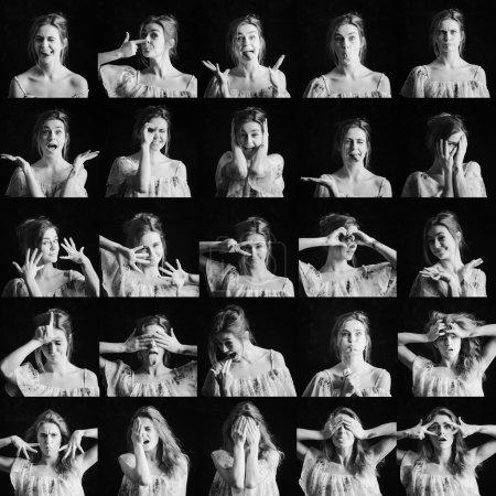 Photo pour Collage de photos en noir et blanc de femmes différentes expressions faciales - image libre de droit