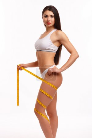Sporty woman on white background