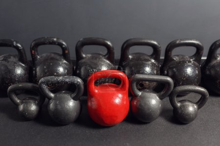 Different sizes of kettlebells