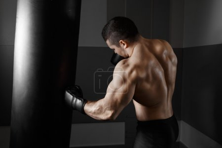 Photo for Male boxer training with punching bag in dark sports hall. Young boxer training on punching bag. Male boxer as exercise for the big fight. Boxer hits punching bag. Young masculine male athlete. - Royalty Free Image