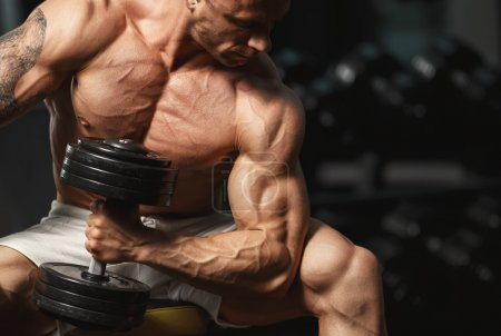 Photo for Strong muscular bodybuilder doing exercise with dumbbell in the gym - Royalty Free Image