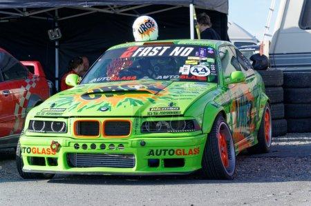 Autumn racing modified car drifting in Norway