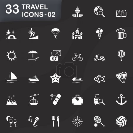 Illustration for Travel vector icons for mobile phone interface and web. Size icon: 32x32 px. - Royalty Free Image