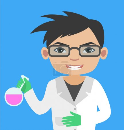 Asian boy with glasses learning chemistry. Illustration of Young Scientist holding a test tube