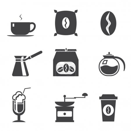 Coffe  modern trendy silhouette isolated icons