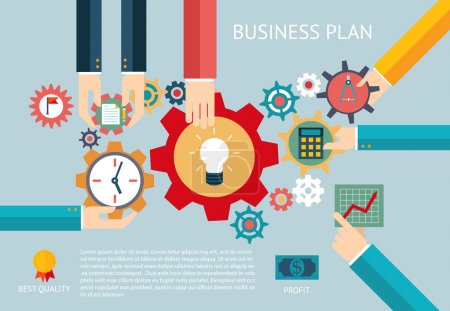 Business plan gears company team infographic work businessman hands concept icons set modern trendy flat vector illustration