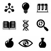 Science education research study web icons set isolated silhouettes flat