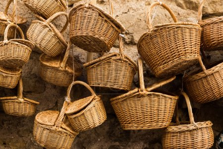 Wicker baskets in a street market