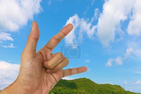 Photo pour Collection main et partie du corps sur le fond du ciel - image libre de droit