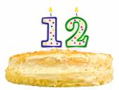 Birthday cake candles  twelve isolated on white