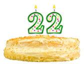 Narozeninový dort svíčky číslo dvacet dva izolované
