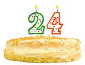 Narozeninový dort svíčky číslo dvacet čtyři izolované