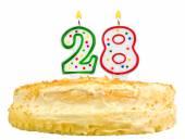 Narozeninový dort svíčky číslo dvacet osm izolované