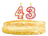 Narozeninový dort svíčky číslo čtyřicet tři izolované
