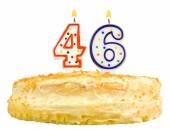 Narozeninový dort svíčky číslo čtyřicet šest izolované