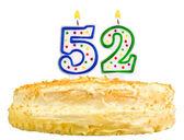 Narozeninový dort svíčky číslo padesát dvě izolované
