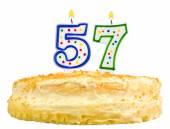 Narozeninový dort svíčky číslo padesát sedm, samostatný